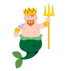 Neptune cartoon character is king of the sea vector