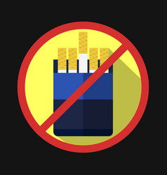 No smoking sign crossed out cigarettes pack vector