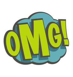 Omg comic book explosion icon isolated vector
