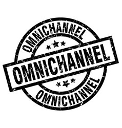 Omnichannel round grunge black stamp vector