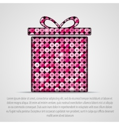 pink sequin gift box Eps 10 vector image