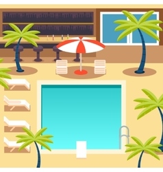 Sunny Pool Hotel Summer Vacation Tourism Journey vector image vector image