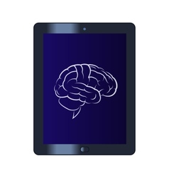 Symbol of the brain on the tablet computer vector image vector image