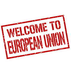 Welcome to european union stamp vector