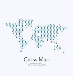 world map with crosses for business vector image