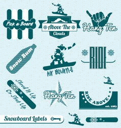 Retro snowboarding labels vector