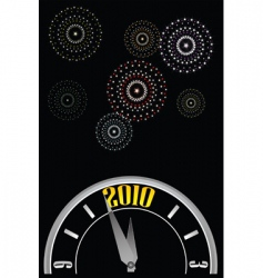 New year clock fireworks vector