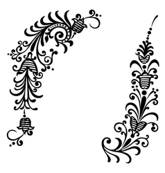 Floral ornament black vector