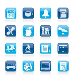 Education and school objects icons vector image