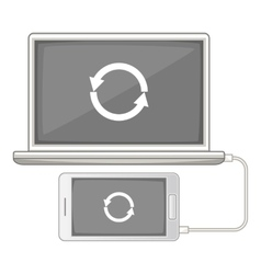 Devices synchronization icon cartoon style vector