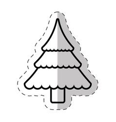 christmas tree traditional cut line vector image