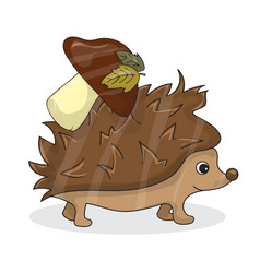 Cartoon image of a cute brown hedgehog with vector