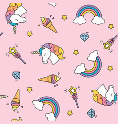unicorn rainbow and magic wand pastel colors vector image