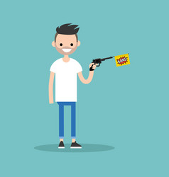 Young character holding a toy gun with a bang vector