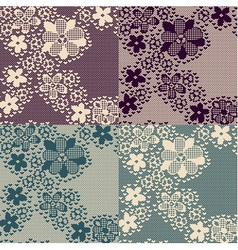 Seamless lace pattern with floral elements vector
