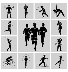 Sport icon set black vector