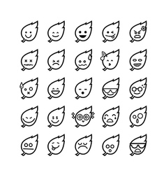 Collection of difference emoticon icon of leaf on vector