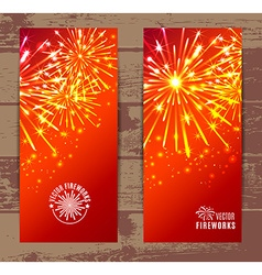 Fireworks banners set vector