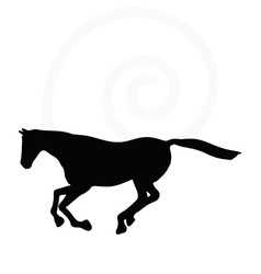 Horse silhouette in gallop pose vector