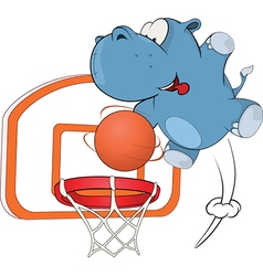 Little hippo basketball player cartoon vector