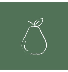 Pear icon drawn in chalk vector