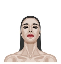 Beauty brunette woman with closed eyes vector