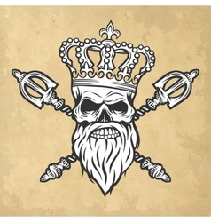 Skull crown and scepter Line art style vector image