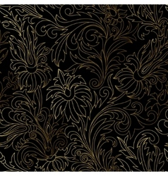 Gold damask ornaments seamless vector