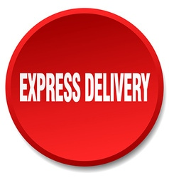 Express delivery red round flat isolated push vector