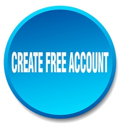 Create free account blue round flat isolated push vector