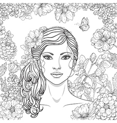girl flowers outline vector image