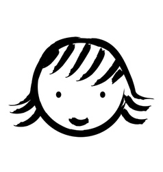 Happy girl drawn isolated icon design vector
