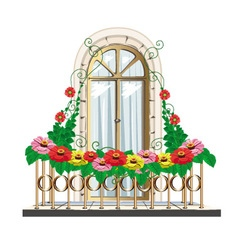 balcony with flowers vector image vector image
