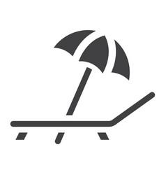 Beach umbrella with deckchair solid icon travel vector