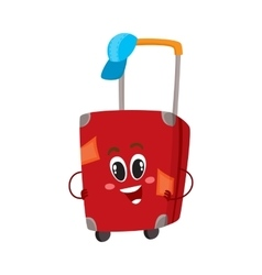 Big red suitcase character with many labels vector image vector image