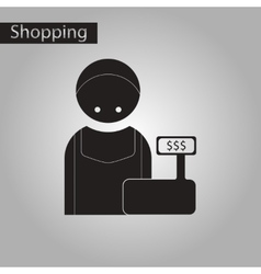 Black and white style icon cashier vector