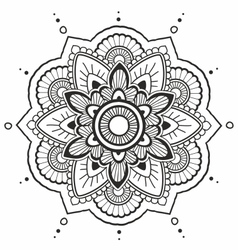 Black mandala on the white background vector image
