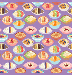 cartoon seamless pattern healthy oatmeal porridge vector image vector image