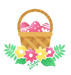 Color basket with easter eggs and flowers on a vector