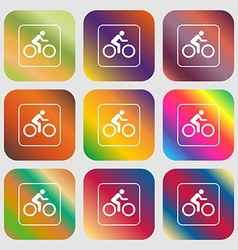 Cyclist sign icon nine buttons with bright vector