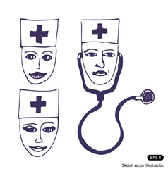 Doctors Three icon faces vector image vector image