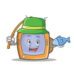 Fishing tv character cartoon object vector