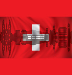 Flag of switzerland with zurich skyline vector