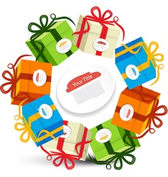 Gift Boxes in Circles Present Box Set Isolated on vector image vector image