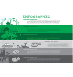 green city infographic set with charts vector image vector image