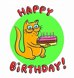 Happy birthday cat vector