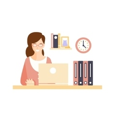 Happy smiling woman office worker in office vector