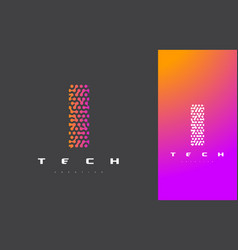 i letter logo technology connected dots letter vector image