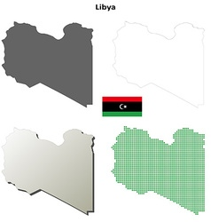 Libya outline map set vector