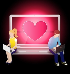 loving couple using laptop and sitting on laptop vector image vector image